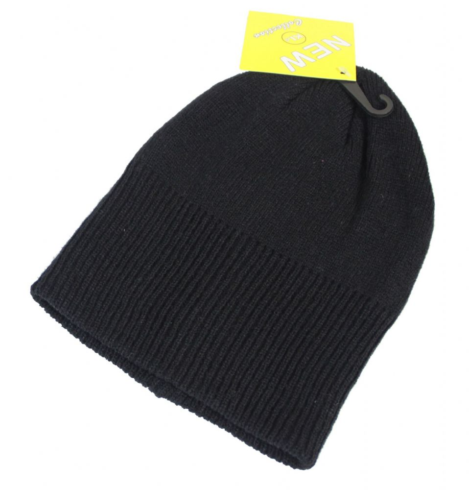 S35-HT6136 black unisex winter beanie hat thermal beanie hat boys